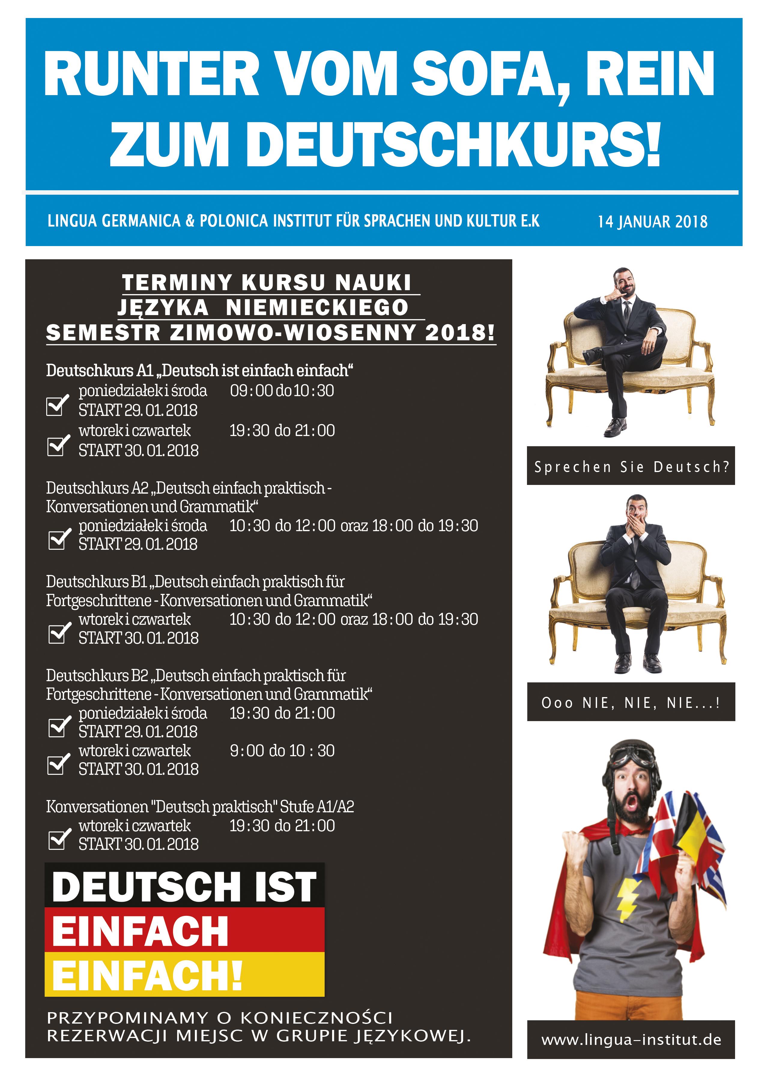 Kursy języka niemieckiego w sezonie wiosna 2018