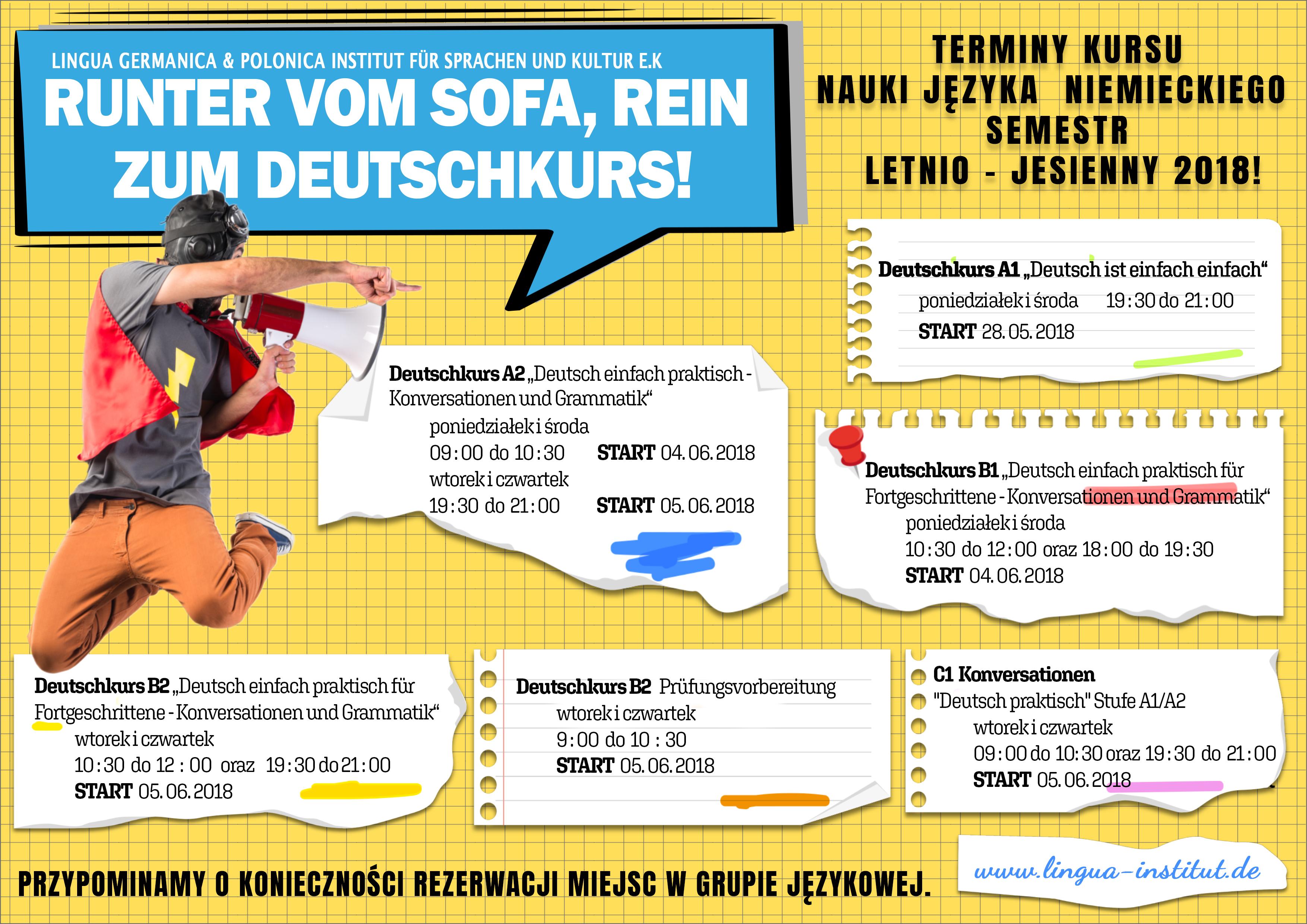 Kursy języka niemieckiego w sezonie letnio – jesiennym 2018